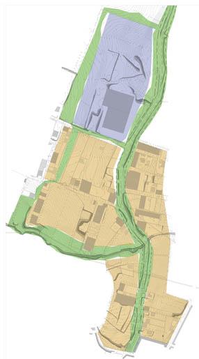 El lindero verde delimita la zona, al tiempo que  la separa en un área de uso industrial más intensiva (azul) y otra (amarillo)  donde sería compatible el uso industrial y el residencial