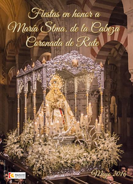 Cartel con la imagen de la Morenita en la Mezquita Catedral durante la Magna Mariana Regina Máter